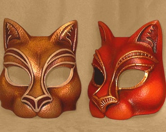 Puss in boots mask latex cat mask gold for LARP, costume, cosplay