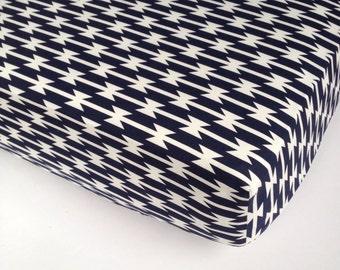 Aztec Crib Sheet - Navy Baby Bedding / Tomahawk Stripe Nursery Bedding / Changing Pad Cover /Standard or Mini Crib Sheet Bedding