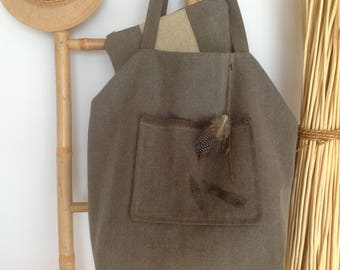 Large tote bag and matching cotton Kit taupe