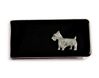 Money Clip Scottish Terrier Dog Neo Victorian Inspired Inlaid in Glossy Black Enamel Custom Colors and Personalized Option