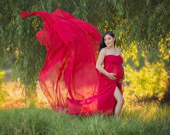 Maternity Gown-Red Maternity Dress-Split Front Maternity Gown-Maternity Gown for Photo Shoot-Pink Maternity Dress-Pregnancy Dress-CLOTHILDE