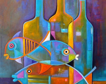 Cubist painting Abstract modernist Original artwork still life Fish Wine Marlina Vera Fine Fine Art Cubism Fauve Cubiste Poisson Eames style