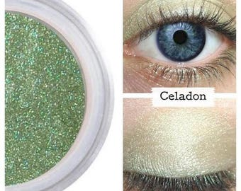 Jade Eye Shadow, Natural Beauty, Use Wet or Dry, No Crease Fade, Sensitive Eyes, Mineral Makeup, Vegan Make Up, All Natural Shadow, CELADON