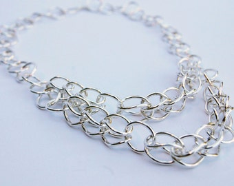 Silver wire link Etruscan/Roman style chain