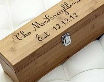 Custom Personalized Bamboo Wine Box w/ included tools