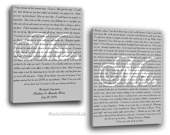 Mr and Mrs Vows Canvas /Set of 2 Canvases / Wedding Vows on canvas / His and Her Vows Canvas / Personalized Wedding Anniversary Gift