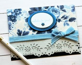 Rose Birthday Card - Floral Birthday Card - Mom Birthday Card - Grandmother Birthday Card - Happy Birthday Her - Blue Rose Card