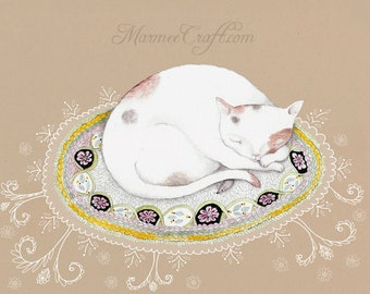 """MarmeeCraft cat on rug and lace art print, """"Little Vous"""""""
