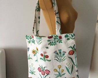 Upcycled Tote Bag White Floral Print Shopping Bag Grocery Zero Waste OOAK (03)