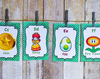 Super Mario Brothers ABC Card Set- Alphabet Cards, Super Mario Bros Nursery, Super Mario Nursery Art, Mario Bros Playroom, PRINTABLE