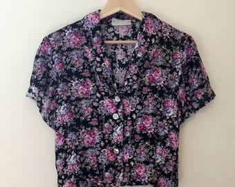 Vintage Floral Crop Top Button Up