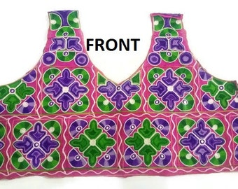 Indian Saree Blouse Free size Top Handwork Multi color Fabric Indian Blouse with Sleeves Choli Top-FREE SIZE UNSTITCHED-IDB26