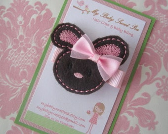 girl hair clips - easter hair clips - girl barrettes - bunny hair clips