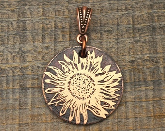 Copper sunflower pendant, small round flat etched antiqued metal flower jewelry 25mm