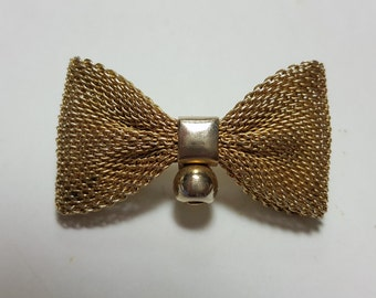 Vintage Gold Tone Mesh Bow Brooch/Goldtone Pin/Vintage jewelry