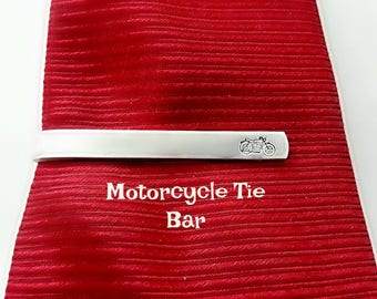 Motorcycle Tie Bar, Hand Stamped Tie Clip, Custom Engraved Tie Bar, Handstamped Gift for Him, Gift for Biker, Harley Davidson