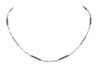 Platinum, Pearl and Enamel Chain Necklace