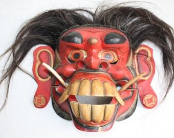 "Traditional Balinese Indonesia Mask Ritual  Hand Carved Painted Wood Art 12"" Bali Barong Boma Tribal Dance Mask Hair"