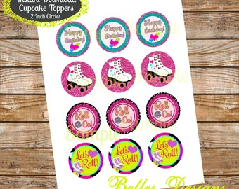 Roller Skating Cupcake Toppers, Let's Roll Bottle Cap Images, 2 inch Cirlces, Party Decor, Stickers, Tags, Craft Supplies, *Digital File*
