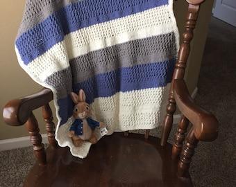 Baby Blanket in Blue & Grey Owl