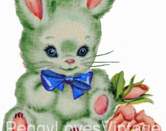 Green Bunny with Blue Bow Digital Image from Vintage Greeting Cards - Instant Download