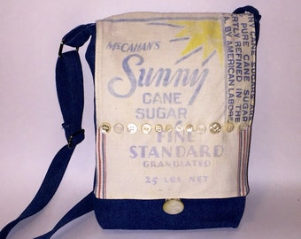 Vintage Sugar Bag Denim and Antique Shell Button Purse Cross Body Bag Adjustable Strap Sunny Cane Sugar Messenger Bag Upcycled Fashion