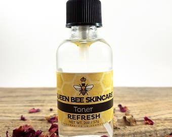 Rose Water Toner - REFRESH - Mild Astringent for the Face - Evening Primrose Rosewater Witch Hazel Rosehips Rosehip Oil - Natural Skincare