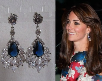 Kate Middleton Duchess of Cambridge Inspired Replikate Queen Mother Chandelier Tear Drop Sapphire Blue Crystal Fringe Eveningwear Earrings