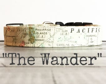 DOG COLLAR, Dog Collars, The WaNDeR, Map Dog Collar, Adventure Dog Collar, World Traveler, Cool Dog Collars