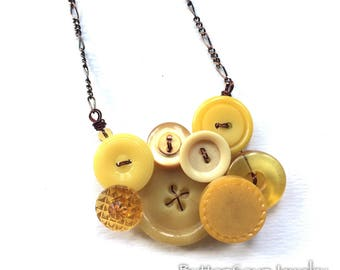 Small Honey Gold and Mustard Yellow Vintage Button Necklace -  Clearance Sale Button Jewelry