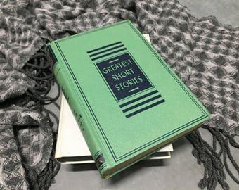 Greatest Short Stories Vintage Book Children's Book Hardcover Green 1953