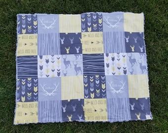 Woodland Blanket-Woodland Nursery-Baby Quilt-Yellow Blanket-Yellow Bedding-gray bedding-deer decor-baby shower gifts
