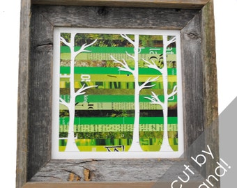 rustic birch tree forest shadowbox- made from recycled magazines, trees, birch, nature, forest, green, frame, wood, natural