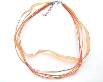 Orange organza necklace 43 cm lobster clasp