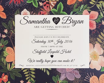 50 Cream Postcard Wedding Invitations. Textured card. Envelopes included.