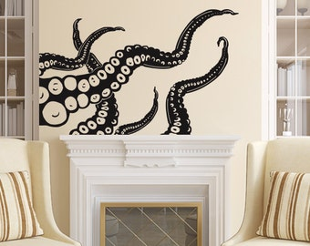High Quality Octopus Wall Decal Tentacles Vinyl Sticker Decals Kraken Octopus Fish Deep  Sea Scuba Ocean Animals Bathroom