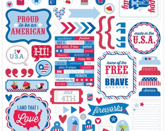 Doodlebug This & That Stickers~Patriotic Picnic~12x12