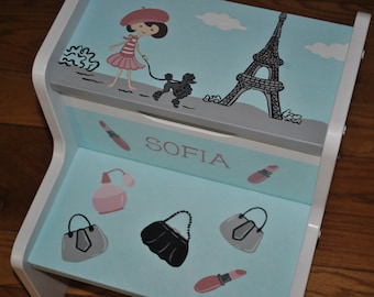 Kids Step Stool-Paris-Paris Glam-Eiffel Tower-Poodle-Stool-Childrens Step Stool-Girls Step Stool-Baby Shower-Kids' Furniture-Chair-Baby Gift