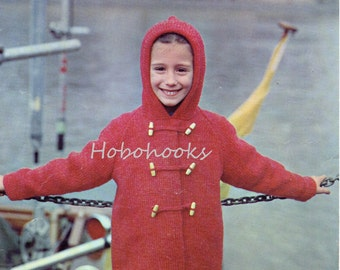 "childrens hooded coat knitting pattern pdf download childs duffle coat with hood  26-30"" chunky yarn bulky pdf instant download"