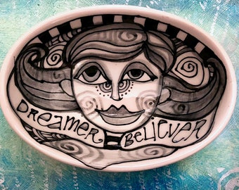 Inspirational Ceramic Bowl - Ceramic Pottery Hand Painted Small Oval Shaped Bowl - Kitchen Decor by Artist Cindy Couling