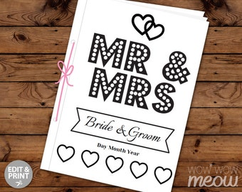Wedding Coloring Book Children's Activity Sheets Booklet Printable Personalize Kid's Pages Maze Print at Home Color in EDITABLE Favor Sheets