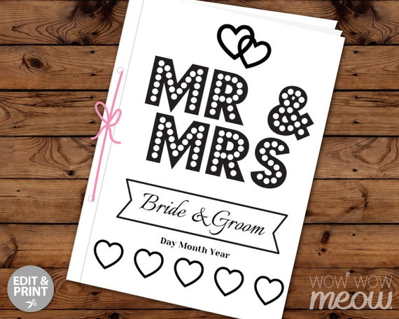 Wedding Coloring Book Children's Activity Sheets Booklet
