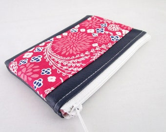 Wallet in faux leather fabric and Navy Blue fuchsia floral