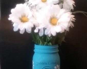 Rustic Daisy Mason Jar Vase