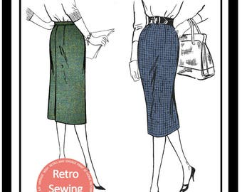 1950's Pencil Skirt Sewing Pattern -  Paper Sewing Pattern