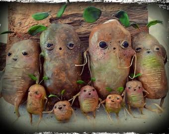 Mandrake or Mandragora roots, Harry Potter inspired, Ooak plant, Harry Potter mandrake, Harry Potter miniature, handmade, Ooak, Hogwarts