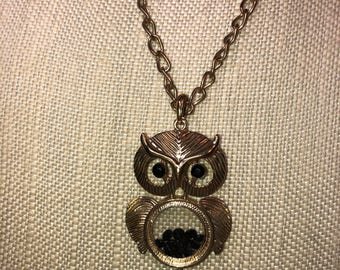 Vintage gold tone articulated Owl Necklace with Clear Belly with black diamond Rhinestones