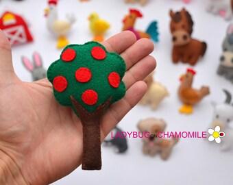 Felt APPLE TREE,stuffed felt Apple tree magnet or ornament, Tree toy, Farm, Nursery decor,Apple tree magnet, cute toy,Appletree, Apple