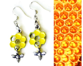 Honeycomb Earrings, 925 Silver Wires, Bee Honeycomb Yellow Good Honey