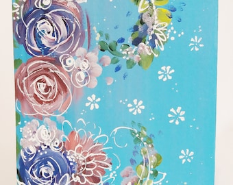 Crisp Blue Hand painted Floral Notebook